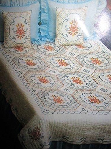 Bucilla Jiffy Cross Stitch Quilt King/Queen Size Quilt - Cross Stitch Jiffy