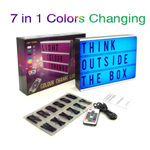 (Cinematic Light Box 7 Color Letters LED Messages Box – 1clienic A4 Rechargeable Cinema Lightbox with 104 Letters, Numbers and Symbols Valentine Wedding Christmas Party)