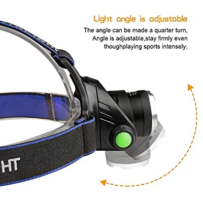 Airsspu Headlamp LED Zoomable 3 Modes Super Bright LED Headlamp Rechargeable Super Bright Headlight 18650 Battery and USB Cable for Camping, Running