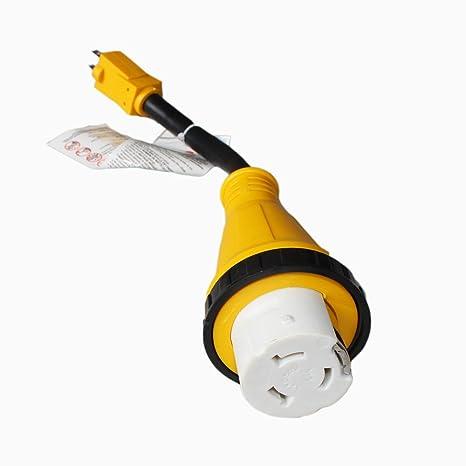 amazon com x haibei rv dogbone electrical twist lock adapter cordx haibei rv dogbone electrical twist lock adapter cord 12inch 15a male to 50a 125