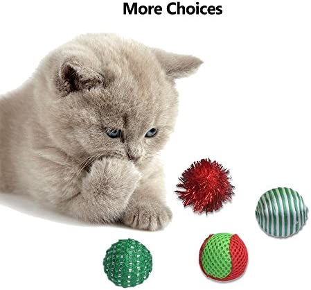 EXPAWLORER 12 PCS Christmas Cat Toys Green Package, Including Ball, Mouse, Bell 6