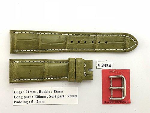 21mm/18mm MOSS GREEN Genuine Crocodile Leather Skin Watch Strap Band Men HANDMADE H3434 (Green Crocodile Leather Watch)