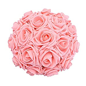 Coxeer 50PCS 3.15'' Artificial Roses Foam Roses Simulation Flowers with 7.09'' Rod for Wedding Party 48