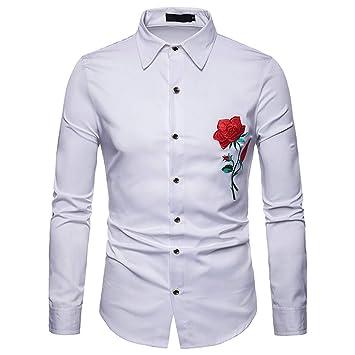 LuckyGirls Camisas para Hombre Lujo Bordado de Floral Camisetas de Manga Larga Casual Camisas de Vestir: Amazon.es: Deportes y aire libre