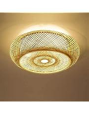 Lampa sufitowa w stylu vintage, japoński bambus – kreatywna lampa sufitowa okrągła LED do sypialni, salonu, gabinetu, na balkon, do wejścia, 60 x 12 cm [klasa energetyczna A+]