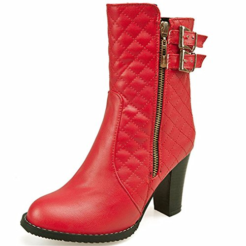 RFF-Women's Shoes Autumn and winter fashion ladies high heels boots boots lattice gules opEzNaSl4