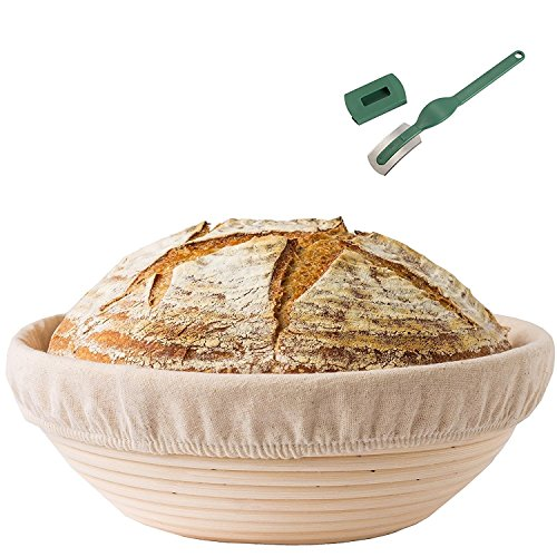 Round Bread Proofing Basket,OAMCEG 10'' Banneton Proofing Basket & Dough Scraper Set,Sourdough Proofing Basket Set with Cloth Liner by OAMCEG