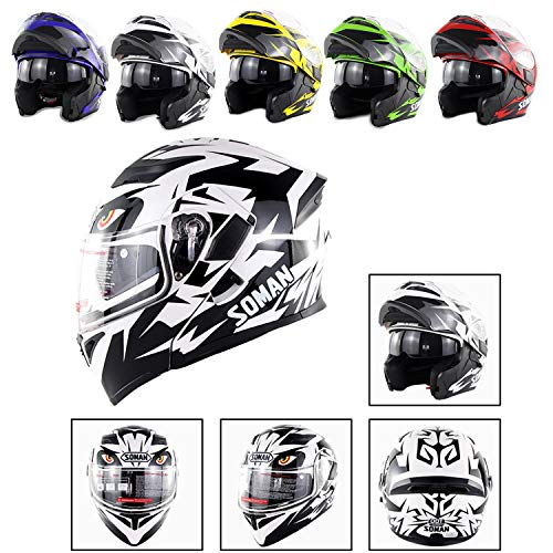 (Evin Bluetooth Integrated Modular Flip Up Full Face Motorcycle Helmet Jet Double Mirror Mp3 Intercom D.O.T Certification,XXL)