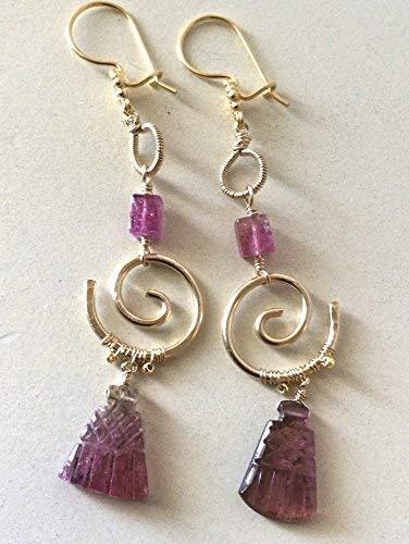 Pink Tourmaline chandeliers, 22k Vermeil, 14k Gold filled earrings by Gem Bliss Jewelry ()
