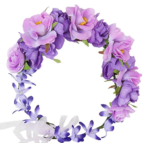 - Vivivalue Boho Flower Crown Flower Garland Headband Hair Wreath Floral Headpiece Halo with Ribbon Wedding Party Festival Photos Purple