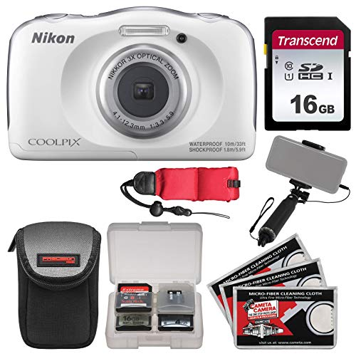 - Nikon Coolpix W100 Wi-Fi Shock & Waterproof Digital Camera (White) with 16GB Card + Case + Selfie Stick + Float Strap + Kit