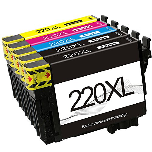 BABU Remanufactured Ink Cartridge Replacement for 220XL 220 XL Compatible with Workforce WF-2760 WF-2750 WF-2630 WF-2650 WF-2660 Expression Home XP-320 XP-420 XP-424 (2BK1CMY) by BABU