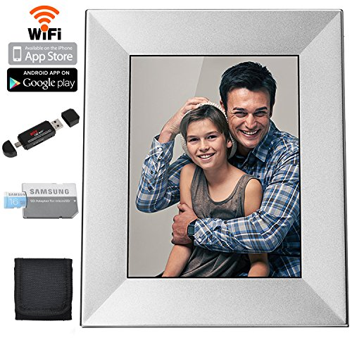Nixplay Iris 8' Digital Picture Frame With Wi-Fi Cloud (W08E- Silver) Samsung 16GB Class 6 Micro SDHC, Polaroid Memory Card Wallet and Ritz Gear Card Reader