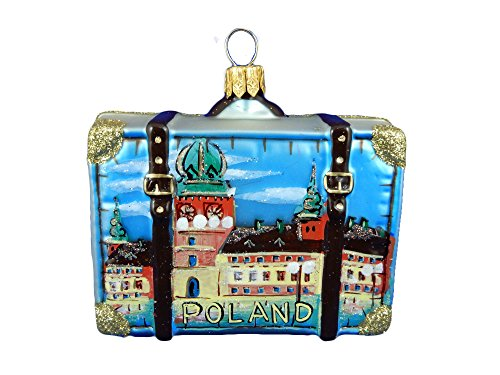 Poland Suitcase Krakow St. Mary's Basillica Cloth Hall in Market Square Polish Glass Christmas Ornament Travel (Poland Glass Ornaments)