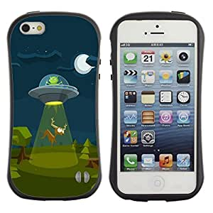 Suave TPU GEL Carcasa Funda Silicona Blando Estuche Caso de protección (para) Apple Iphone 5 / 5S / CECELL Phone case / / Ufo Alien Spaceship Art Cartoon Deer Moon /