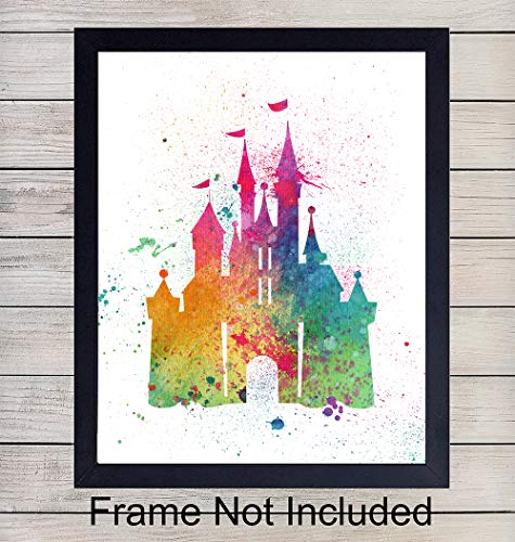 (Disney Castle Watercolor Wall Art Print - Perfect Gift For Boys and Girls Rooms, Disney World Fans - Disneyworld - Great For Home Decor - Ready to Frame (8X10) Photo)