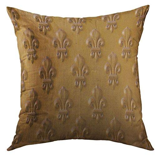 Mugod Decorative Throw Pillow Cover Lis Fleur De LYS on The Doors of Napoleon's Tomb in Paris Gold Craftsmanship Home Decor Pillow Case 18x18 Inch ()
