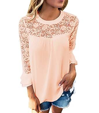 Blusa Gasa Cordón Blusas Manga Larga para Dama Camisas de Mujer Blusones Camisetas Largas Juveniles Top Cuello Redondo Tops Camisa Fiesta Elegantes Anchas Verano Casual Bonitas Albaricoque S