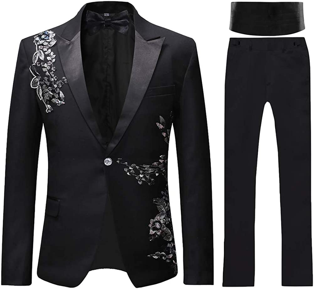 Mens Suits 2 Piece Suit Tuxedo Black Slim Fit Floral Floral Sequin Embroidered Blazer Wedding Dinner Suit Jackets Trousers Amazon Co Uk Clothing