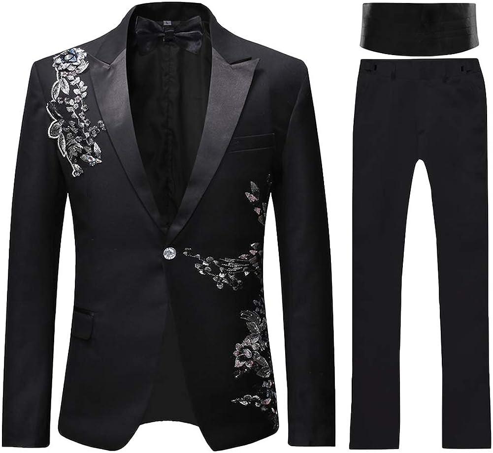 Mens Suits 2 Piece Suit Tuxedo Black Slim Fit Floral Floral Sequin Embroidered Blazer Wedding Dinner Suit Jackets Trousers Amazon Co Uk Clothing