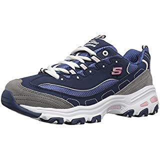 Skechers Sport Women's D'Lites Memory Foam Lace-up Sneaker,Navy/Grey/White,6.5 M US