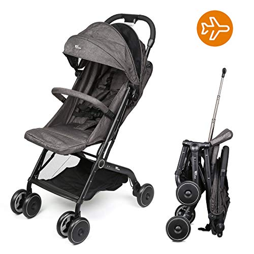 Amzdeal Airplane Lightweight Stroller Portable Travel Stroller with Pull Handle Foldable Design for Car and Airplane Travel (Foldable Stroller)