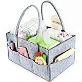 Aurelius Baby Diaper Caddy Organizer Portable Nursery Storage Bin for Baby Wipes and Nappy,Perfect for Travel or Everyday Changing Needs (Grey)