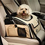 Pettom Pet Car Seat Carrier Airline Approved for Dog Cat Lookout Pets up to 15 lbs (Small, Khaki)