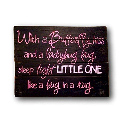 (With A Butterfly Kiss And A Ladybug Hug Sign, Nursery Wall Art, Ladybug)