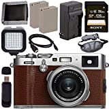 Cheap Fujifilm X100F Digital Camera Brown 128GB + Battery + Charger + Card + HDMI Cable + Memory Card Wallet + Card Reader + LED Light Bundle