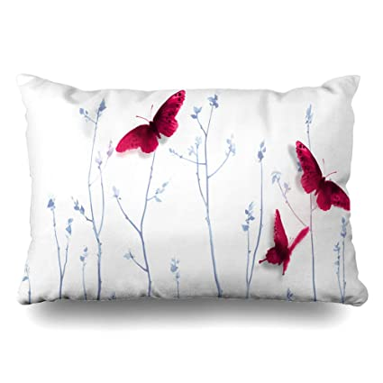 Pleasing Diycow Throw Pillows Covers Go Three Big Red Butterflies Brush Young Blue Nature Butterfly Cushion Case Pillowcase Home Sofa Couch Standard Size 20 X Ocoug Best Dining Table And Chair Ideas Images Ocougorg