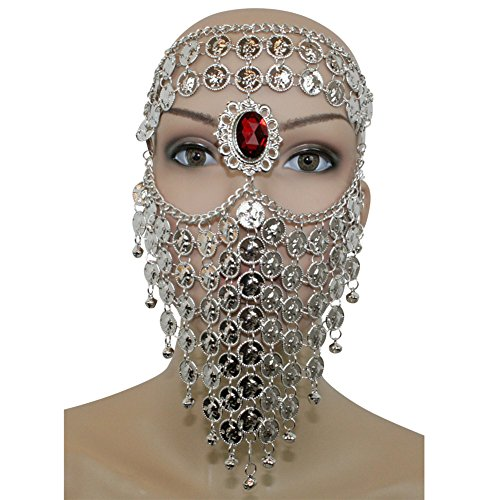 [Silver Red Gem Belly Dance Costume Headwear Coins Face Mask Veil Tribal Bedouin Burka Burqa] (Dance Wear Costumes)