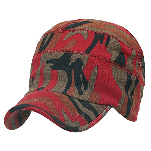 ililily Military Camouflage Pattern Cotton Casual Flex Fit Work Cap Soft Hat Red