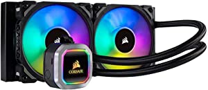 Corsair H100i RGB PLATINUM AIO Liquid CPU Cooler,240mm,Dual ML120 PRO RGB PWM Fans,Intel 115x/2066,AMD AM4/TR4 (Renewed)