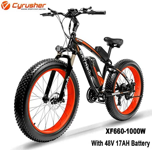 Cyrusher XF660 1000W Electric Mountain Bike 26inch Fat Tire e-Bike 21 Speeds Beach Cruiser Mens Sports Mountain Bike Full Suspension,48V 17AH Lithium Battery Hydraulic Disc Brakes