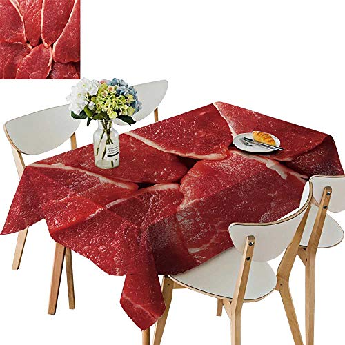 (UHOO2018 Polyester Square/Rectangle Piece raw Meat backgroun Kitchen Washable,54 x120inch. )