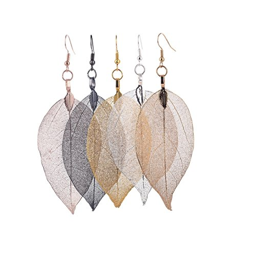 COLORFUL BLING Top quality handmade boho leaf Leaves dangle drop earring for women jewelry - Gold