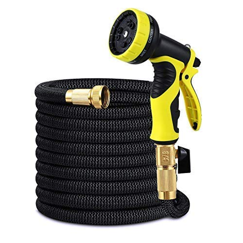 Garden Hose,Expandable Garden Hose,Pmty 50FT No-Kink Flexible Water Hose with Double Latex Core,3/4 Solid Brass Fittings,Extra Strength Fabric,Metal 9 Function Spray Nozzle for Garden&Outdoor Cleaning