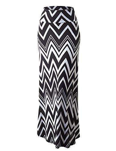 Lock and Love WB1191 Womens Chevron Print Maxi Skirt XXXL (Printed Maxi Skirt)