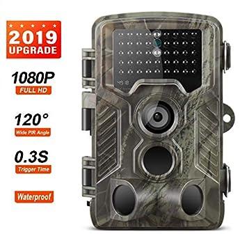 Camara de Caza EXCELVAN Ángulo de detección de 120 ° con visión Nocturna de la cámara de Vida Silvestre IP66 de 16MP 1080P con 42PCs LED para ...