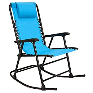 Best Choice Products Foldable Zero Gravity Rocking Patio Recliner Chair - Light Blue