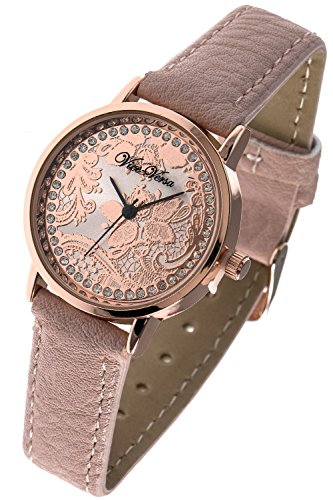 [THE JEWEL RACK LACE ETCHED CRYSTAL LINED WATCH (Lt. Pink)] (Dallas Wholesaler Costumes Jewelry)