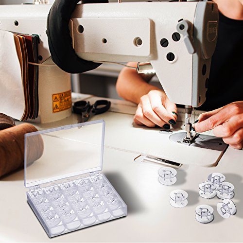 Mudder Plastic Sewing equipment Bobbins having safe-keeping event for Brother Janome Singer Elna Sewing equipment Transparent 25 Pieces Bobbins