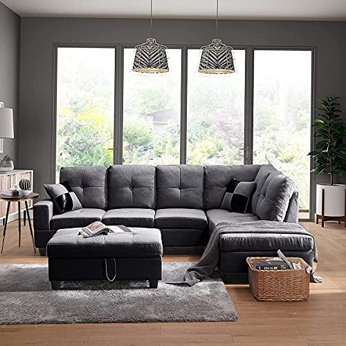 STARTO Modern Sectional Sofa Set with Chaise Lounge, L-Shaped Corner Couch Storage Ottoman and 2 Pillows for Living Room Furniture, Gray Right