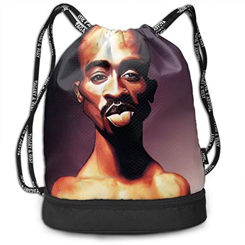 (Sheridan Reynolds Bundle Backpack 2Pac Tupac Shakur HIPHOP RAP Sport Gymsack Bag Drawstring Backpack)