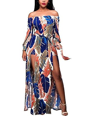 Women Tropical Leaves Print Off Shoulder High Split Long Beach Maxi Dress (Leg Split Dress)
