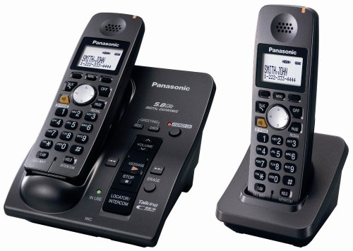 Panasonic KX-TG6052B 5.8 GHz FHSS Expandable Digital Cordless Phone System with 2 Handsets