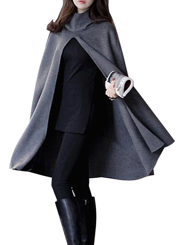 Clothink Women Gray Wool Hooded Split Front Poncho Cape, Small by Clothink