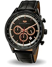 Rhodenwald & Söhne Eastwood Herren-Uhr Chronograph Edelstahl Schwarz mit Lederarmband schwarz 5 ATM - Totalisator Tachymeter Flieger-uhr Optik