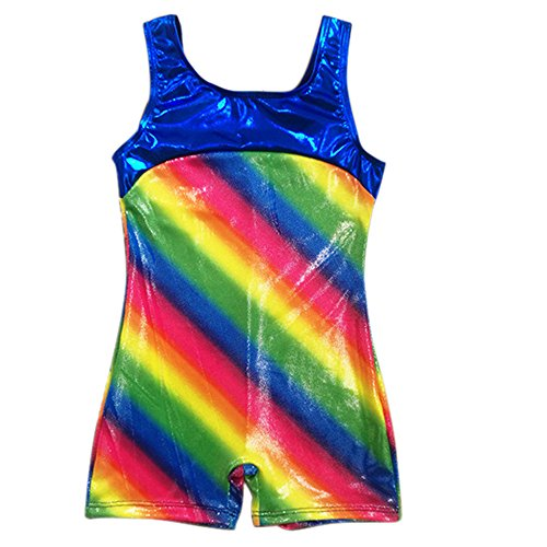 Happy Cherry Little Girls Classic Leotard Balance Beam Gymnatsics Biketard Athiletic Ballet Dance Sports Outfit - 7-8Y - Rainbow